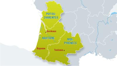 Carte des centres d'addictologies région Sud-Ouest